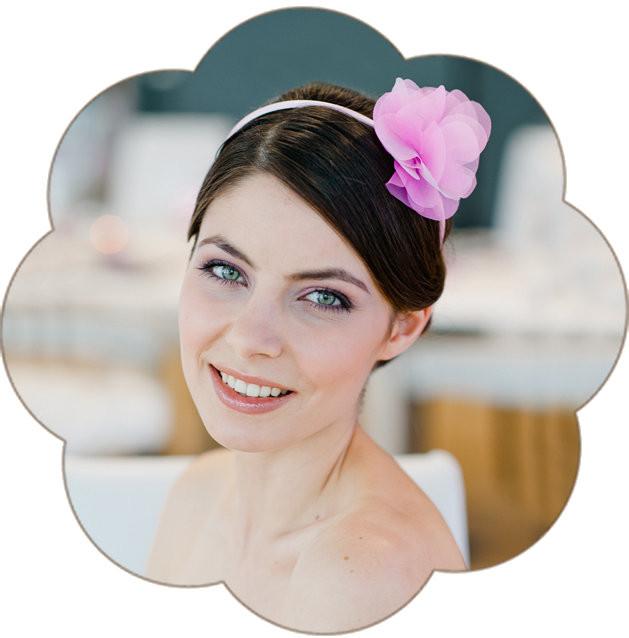 Haarreif mit Organzablüte für die Braut in rosa für ihr Standesamt Outfit!
