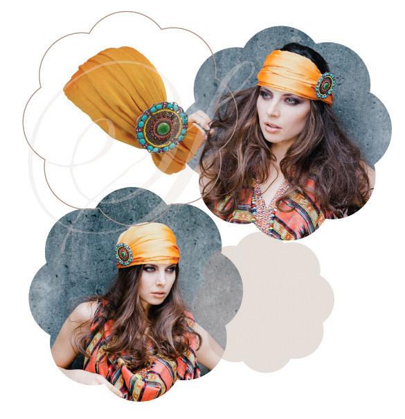 Haarband / bandana in Orange. Exotisch, trendy, cool, vielseitig tragbar, als Haarband oder als Cap in Ethno Tribal Stil. Ein Must Have 2015.