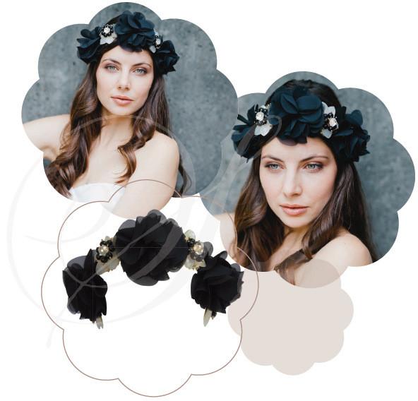 Blumen Haarkränze in Schwarz. Edel, elegant!
