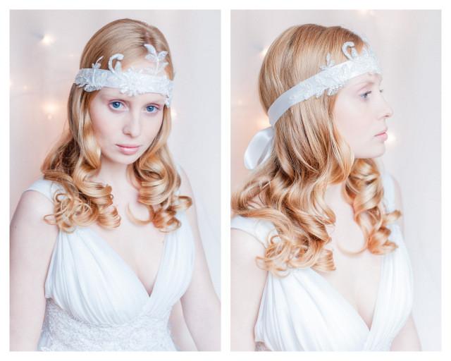 Vintage Haarband mit einer Applikation aus feinster Spitze für die Boho Vintage Hochzeit.