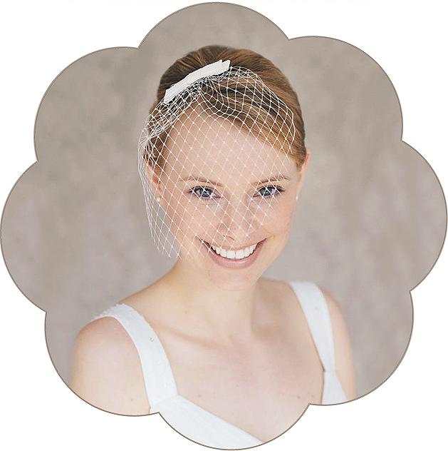 Schleier mit Schleife Seide für die Braut. Fascinator, Birdcage, Veil wedding.
