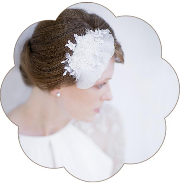 Vintage Fascinator aus Spitze und Federn. Vintage Kopfschmuck in Ivory. 20er Jahre Haarschmuck. 20ies Headpiece wedding. Lace Fascinator for the boho look.