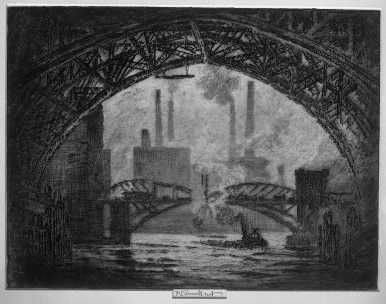 "Bajo los Puentes de Chicago. En: ""Joseph Pennell's Pictures of the wonder of work"""