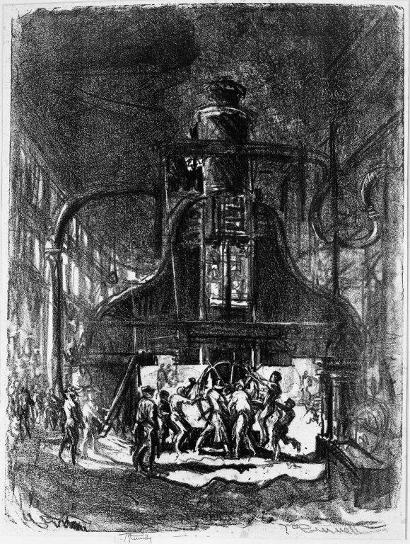 """Forjando conchas. Los esclavos de la rueda. En: """"Joseph Pennell's Pictures of War Work in America"""""""