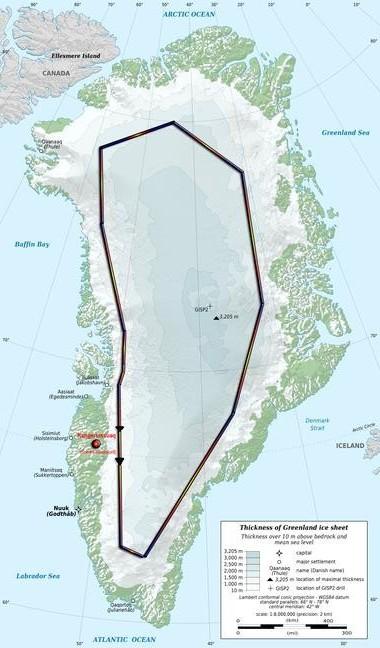Mapa del recorrido por el interior de Groenlandia. / Tierraspolares ©