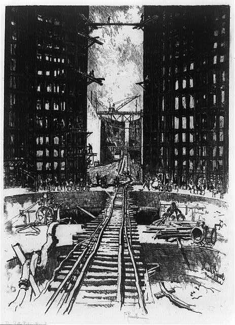 """Construcción de las compuertas de Pedro Miguel del Canal de Panamá. En: """"Joseph Pennell's pictures of the Panama Canal"""""""