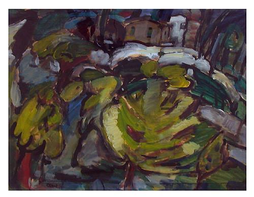 "Jan Budding ""Paysage Ceret"" acryl/olieverf op papier.."