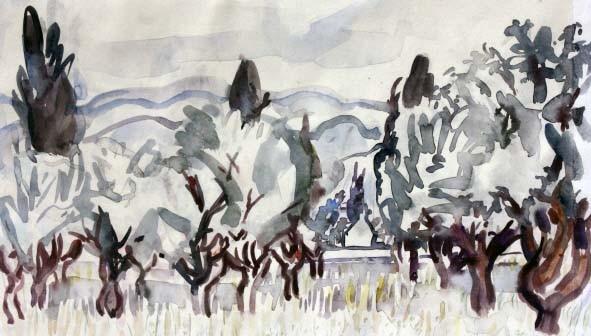 """Jan Budding """"Boomgaard"""" aquarel acryl op papier."""