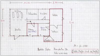 Handskizze von Wilfried Brückner: Die rechte Haushälfte mit dem rot markierten Anbau. Alle Fotos stammen von Herbert Brückner.