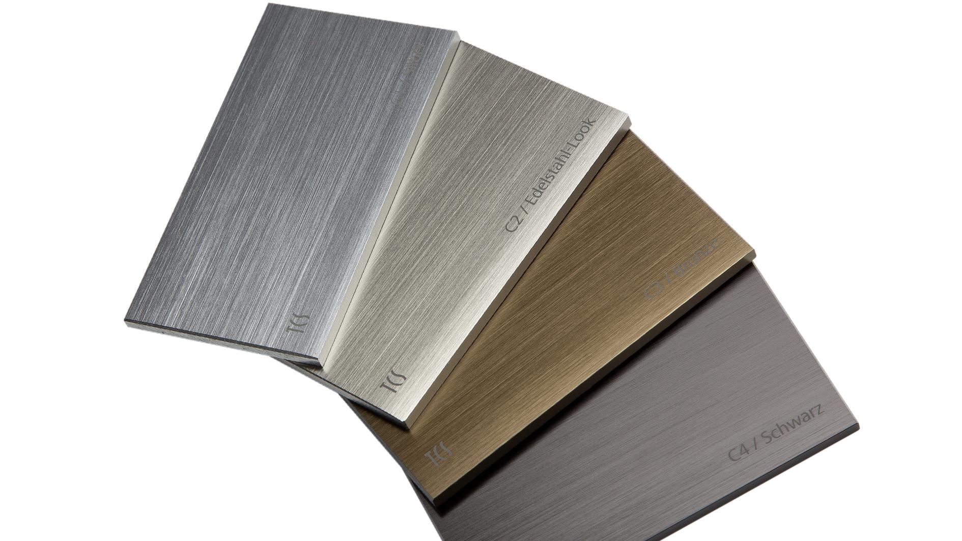 Aluminium geschliffen und farbig eloxiert