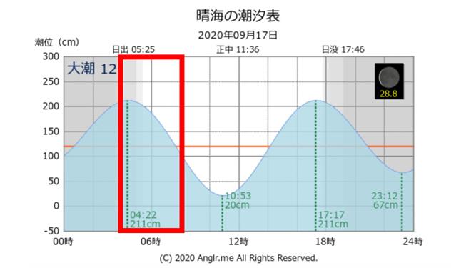 タイドグラフ・潮位表 デイゲームでシーバス連発 活性高い若洲海浜公園の朝まずめの釣り