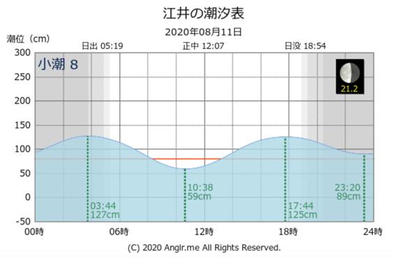 当日の潮位表・タイドグラフ 青物ツバス好調 淡路島 南あわじ市 丸山公園