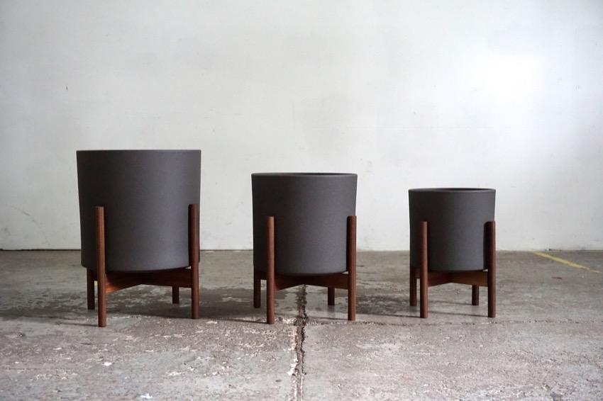 Mid Century Modern Design Planter Plant Stand Walnut Matte Black
