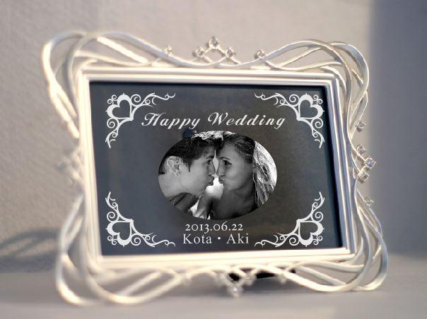 結婚記念品 結婚お祝い ティアラフォトフレーム 名入れ写真彫刻記念品