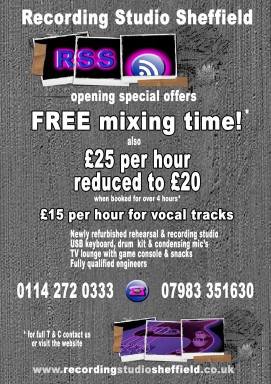 Recording Studio Sheffield opening leaflet