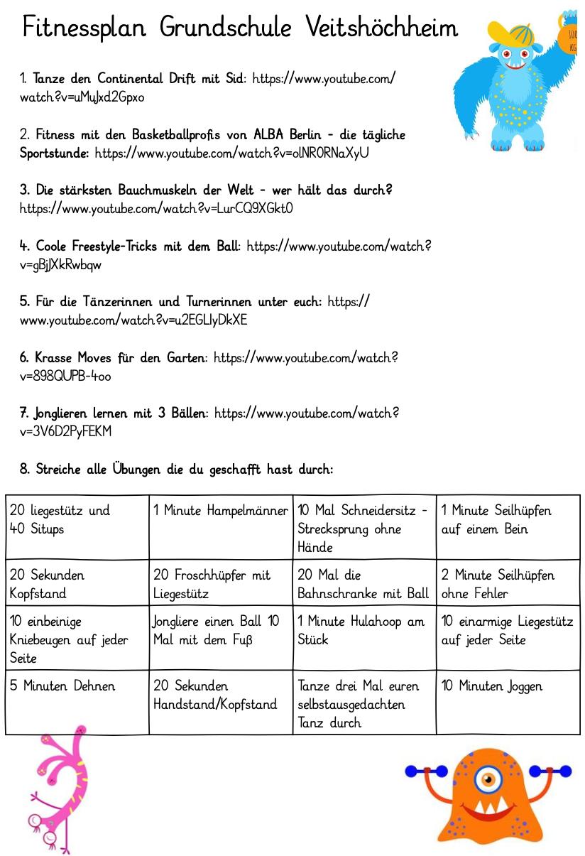 Ideen für deine Freizeit   Grundschule Veitshöchheim