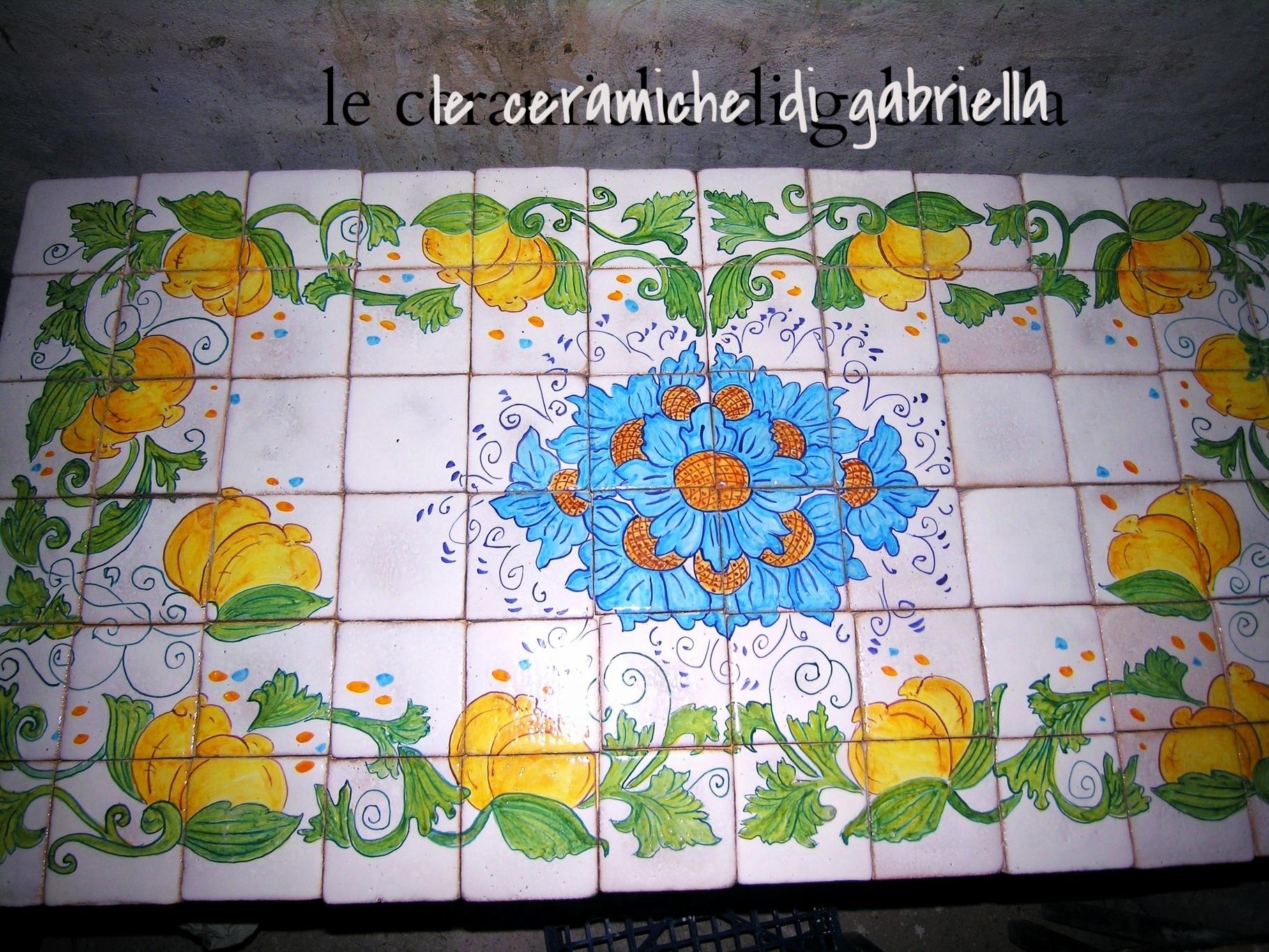 Pannelli 2 pannelli in ceramica artistica maiolica pannelli per cucina ristoranti - Pomelli ceramica per cucina ...
