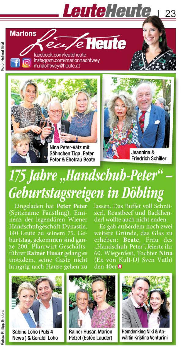 """Tageszeitung HEUTE, Ausgabe vom 25.6.2018, Fotoreportage: """"Handschuh Peter"""""""