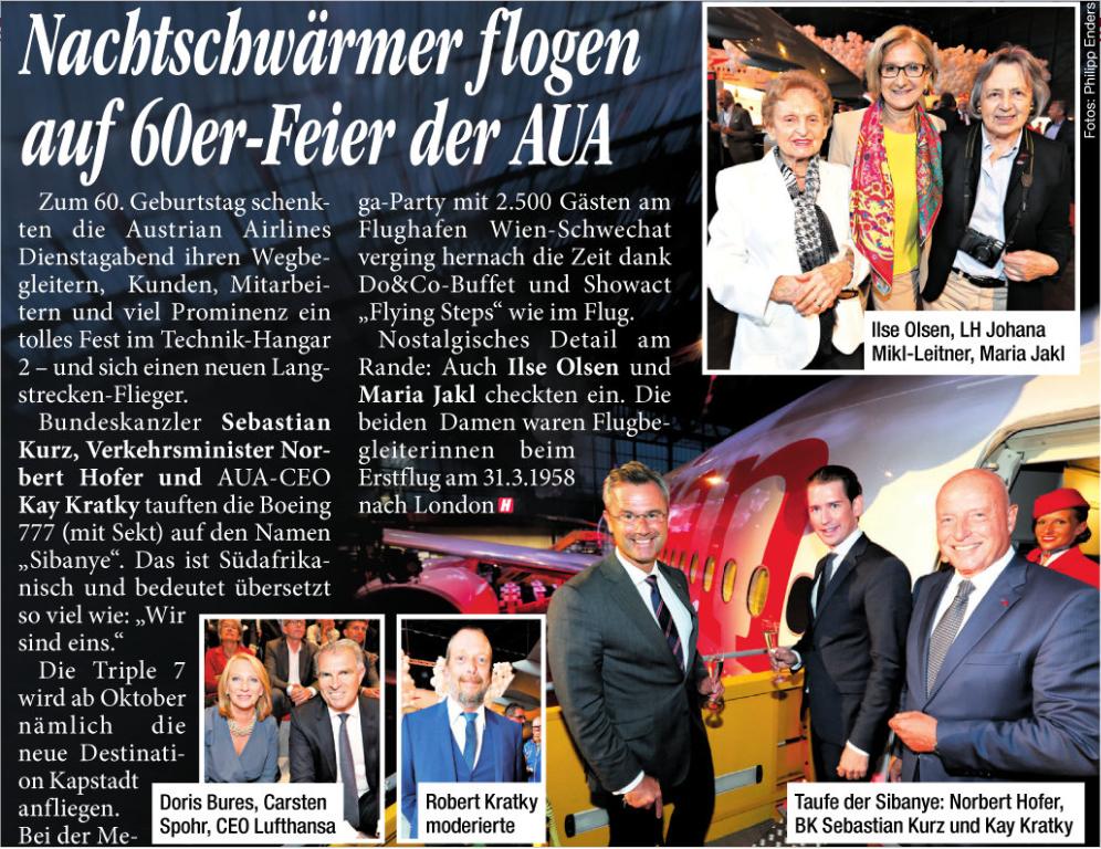 Tageszeitung HEUTE, Ausgabe vom 16.5.2018, Fotoreportage: 60 Jahre Austrian Airlines