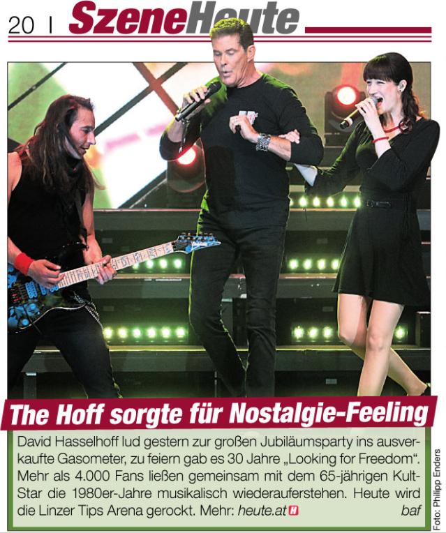 Tageszeitung HEUTE, Ausgabe vom 04.5.2018, David Hasselhoff