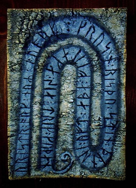 Runes (peinture sur écorce et photographie avec post traitement sur photoshop)