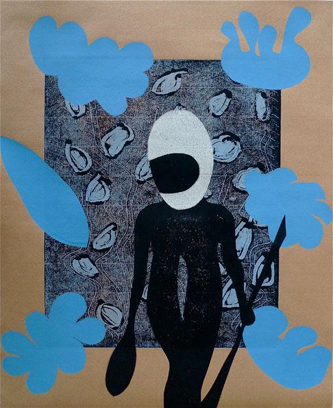 Aus der Serie Attitüde. 2011, 50 x 41 cm, Mischdrucktechnik