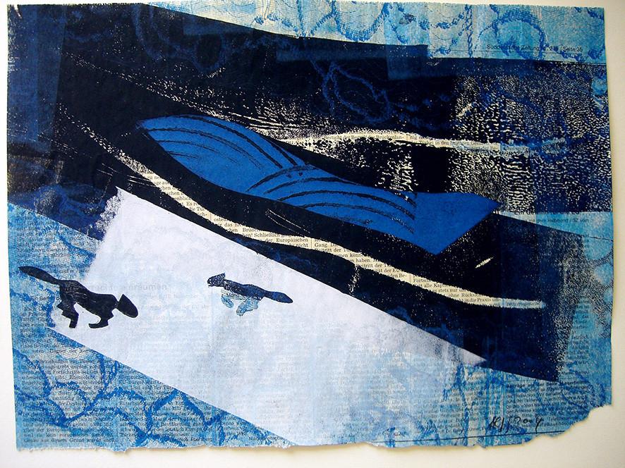 """Aus der Serie """"Wenn sie wüßten, wo das liegt, was sie suchen"""". 2004, 34 x 25,6 cm, Mischdrucktechnik"""