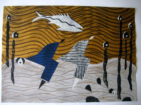 Aus der Serie Wellengang. Wellengang III 2005 70 x 50 cm Mischtechnik