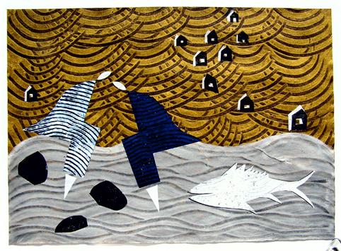 Aus der Serie Wellengang. Wellengang II 2005 70 x 50 cm Mischtechnik