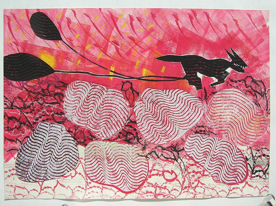 """Aus der Serie """"Wenn sie wüßten, wo das liegt, was sie suchen"""". 2004, 70 x50 cm, Mischdrucktechnik"""