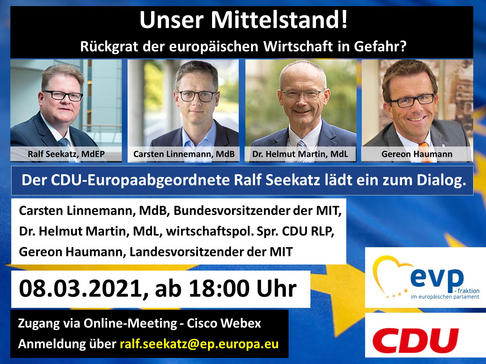 """Terminhinweis: Online-Veranstaltung zum Thema """"Unser Mittelstand!-Rückgrat der europäischen Wirtschaft in Gefahr?"""""""
