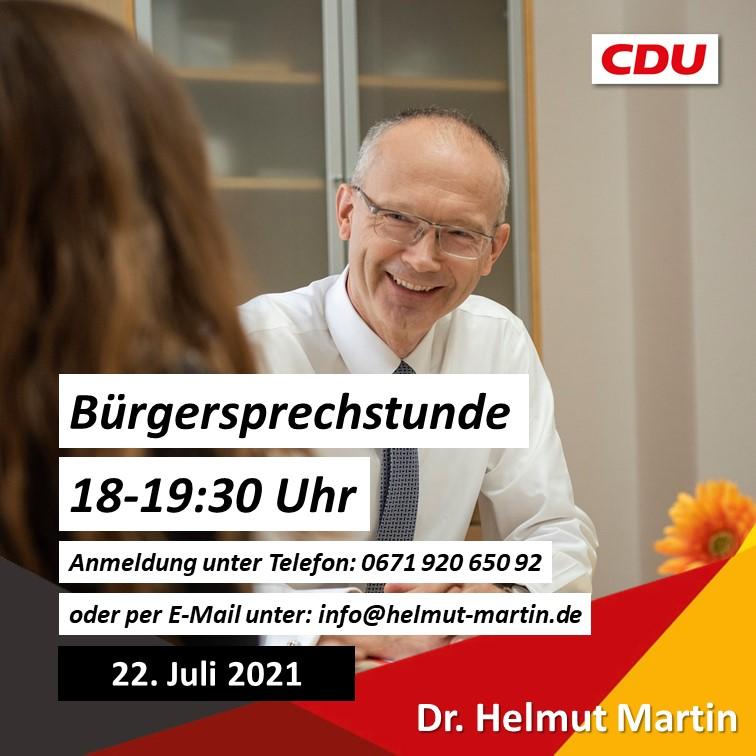 Nächste Bürgersprechstunde von Dr. Helmut Martin am 22. Juli 2021 | 18-19:30h
