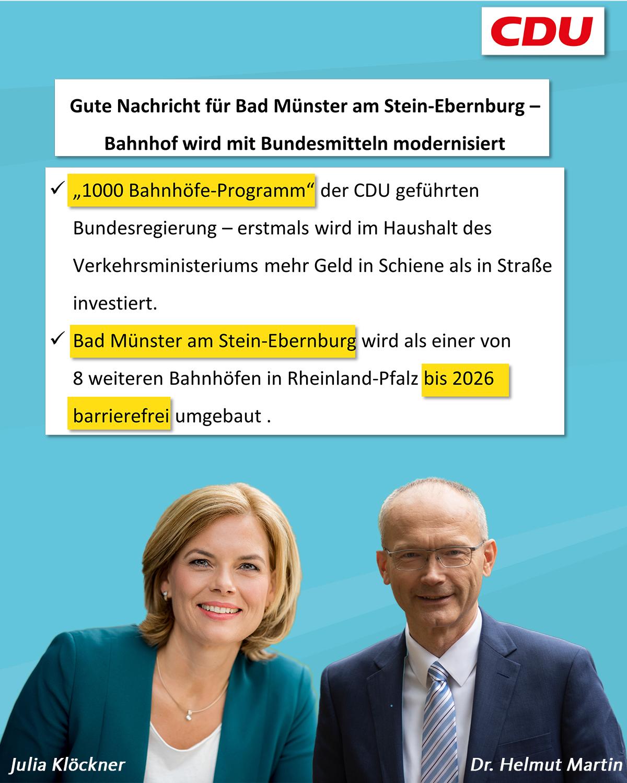"""Klöckner/ Martin: """"Gute Nachricht für Bad Münster am Stein-Ebernburg – Bahnhof wird mit Bundesmitteln modernisiert"""""""