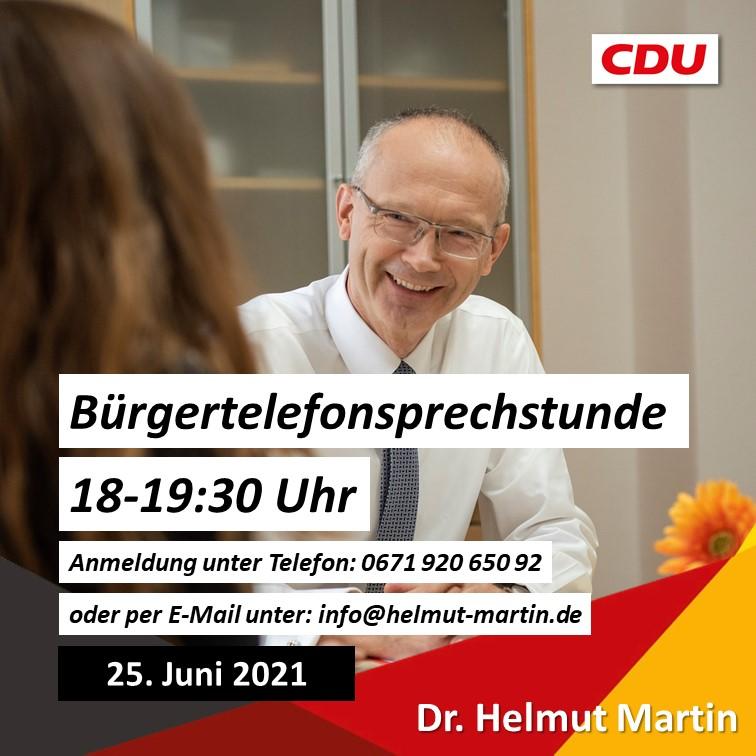 Nächste Bürgersprechstunde von Dr. Helmut Martin am 25. Juni 2021 | 18 - 19:30 Uhr