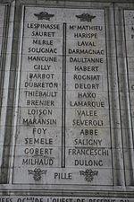 Son nom gravé sur l'Arc de triomphe