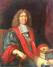 Louis Boucherat en robe de chancelier, la main posée sur la cassette des sceaux de France.