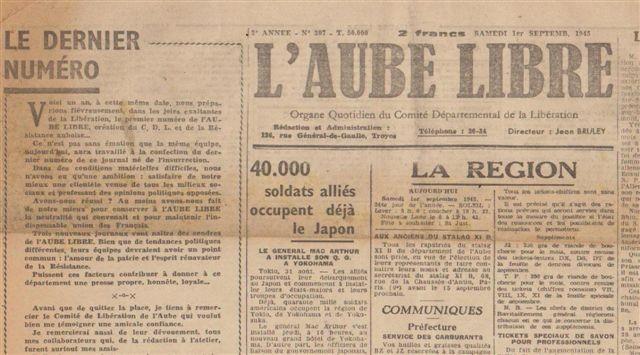 Dernier N° annonçant son remplacement par l'Est-Eclair, Libération et la Dépêche de l'Aube