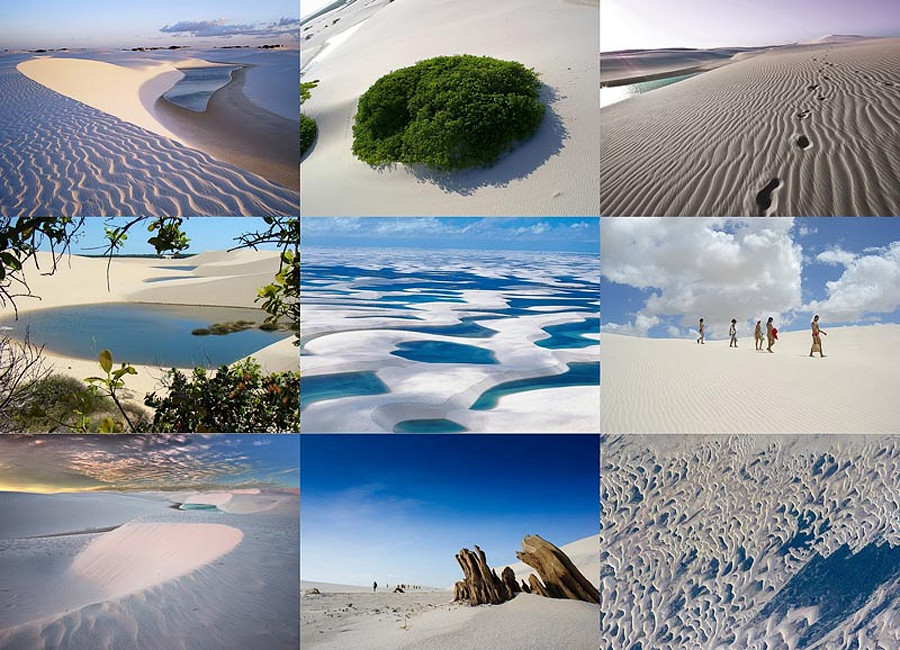 Белые пески Lencois Maranhenses Бразилии