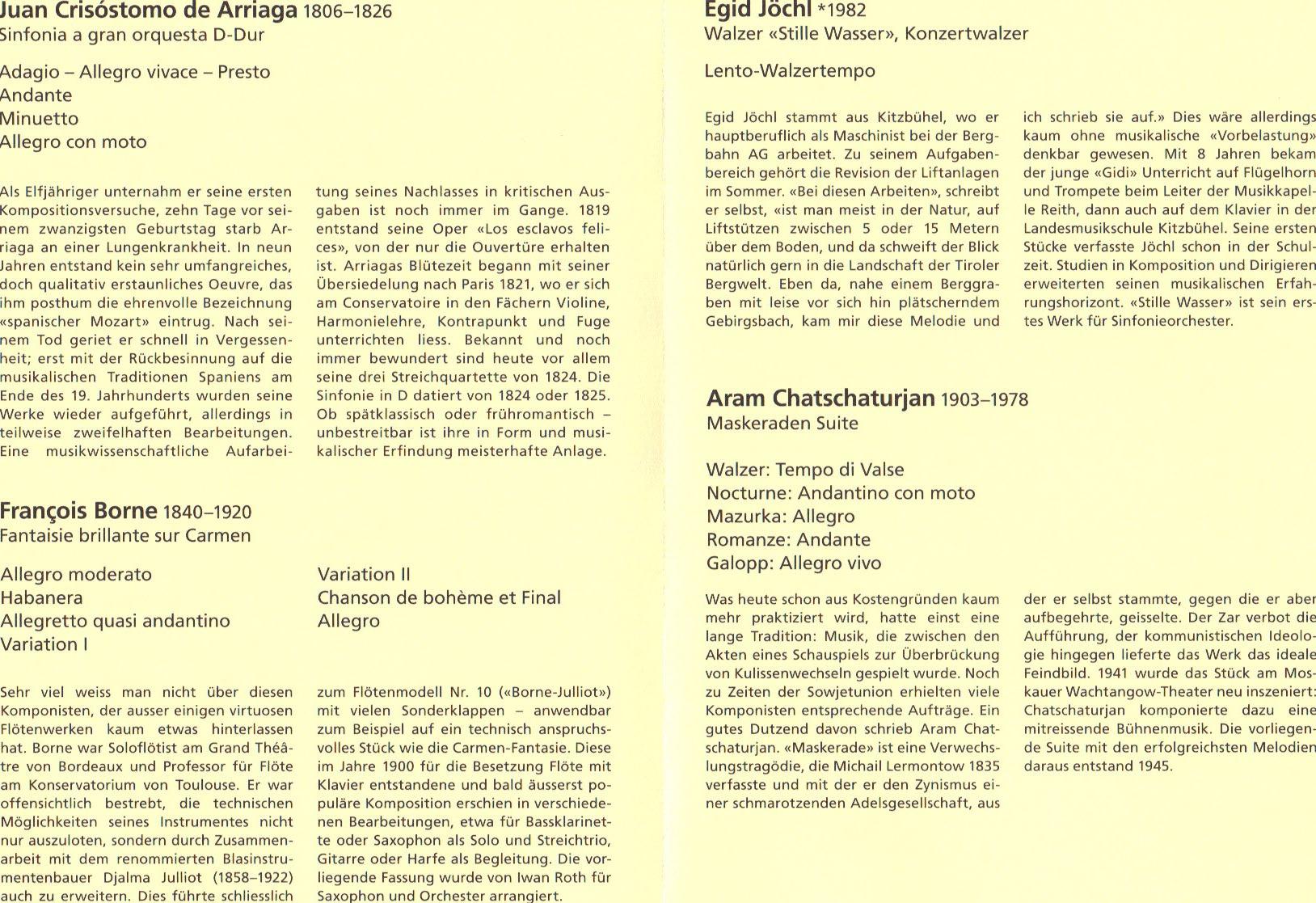 Programm Sinfonieorchester Meilen, 2011