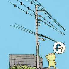 Δ月Ω日 こういう電線、鳥がたくさんとまっているのかと思ってしまう。