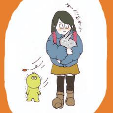 Ё月Ш日 小学生がうさぎを抱いて下校。いいな。