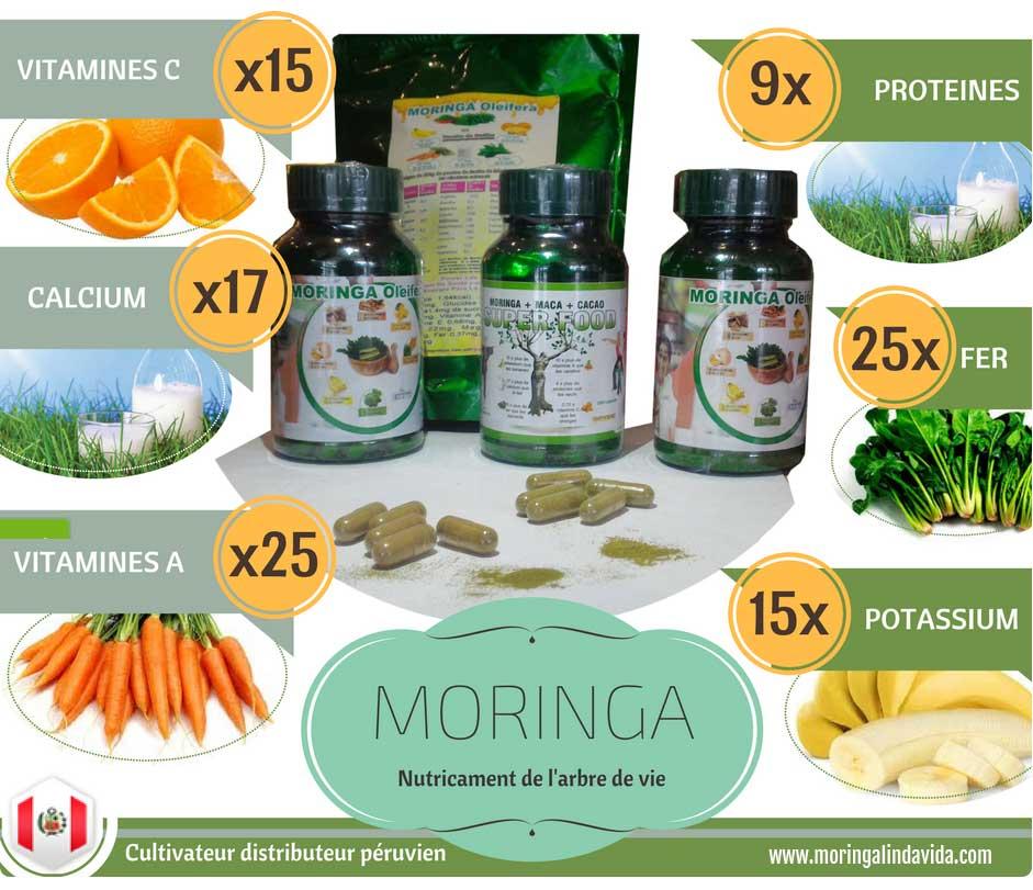 vente de moringa en ligne 100% naturel santé au naturel culture biodynamique superaliment complément alimentaire linda vida infographie vertus moringa propriété moringa