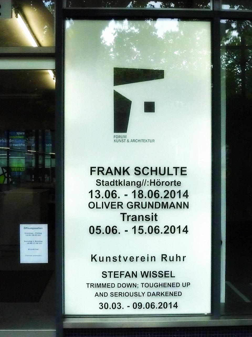 Stadtklang //: Hörorte - Eingang Forum für Kunst & Architektur