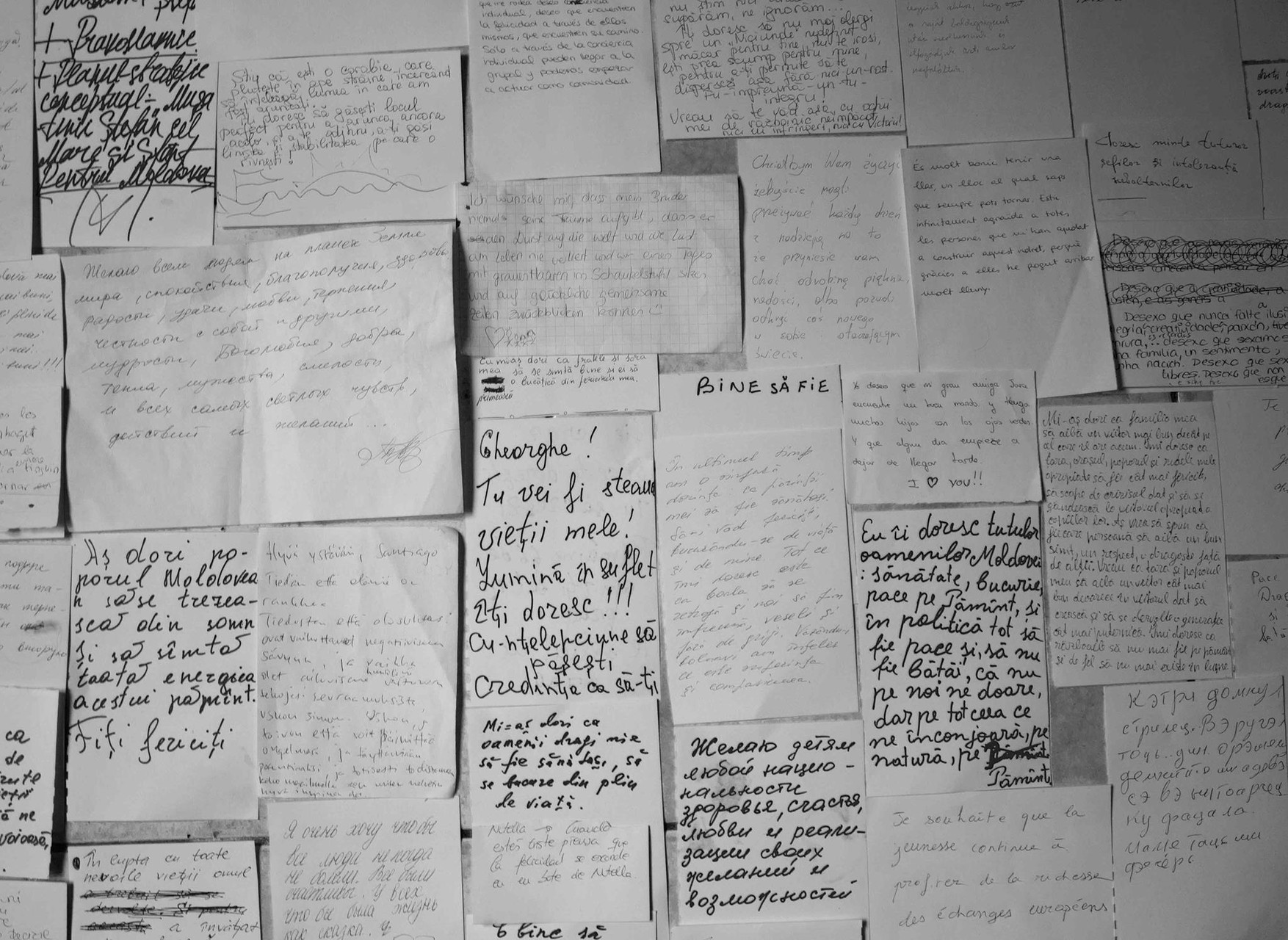 collection excerpt of handwritten wishes - Installation WÄRMEPOL/ idea generator