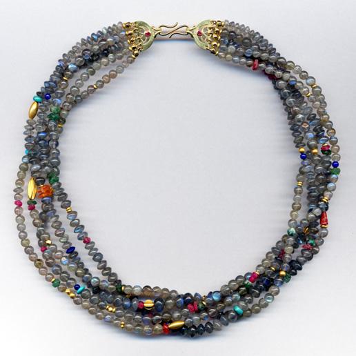 Halskette mit Labradorith & verschiedenen Edelsteinen, Gelbgold 900 & 750