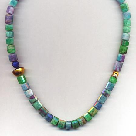 Halskette mit Paraiba Turmalin & Lapis, Gelbgold 900 & 750