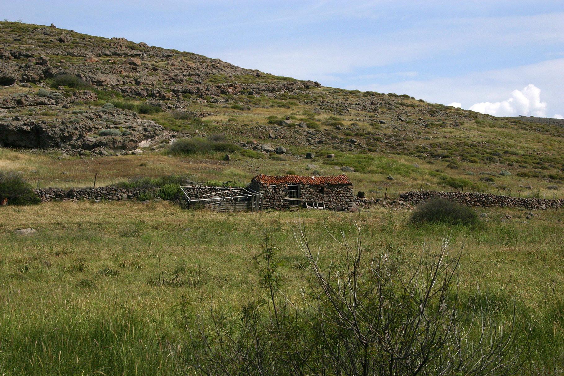 Eine alte Steinhütte im Meladia-Valley (hier könnte doch ein Steinkauz hausen...)