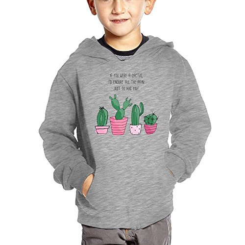 c1564405a Cactus Hugs Kids Long Sleeve Pocket Pullover Hooded Sweatshirt White