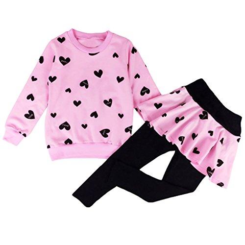91bfe4d03 Little Girls Clothing Set Outfit Heart Print Hoodie Top+Long Pantskirts 2pcs