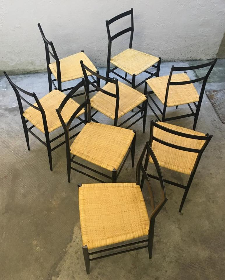 "Set di 8 sedie ""Superleggera"" Cassina by Gio Ponti anni 60."